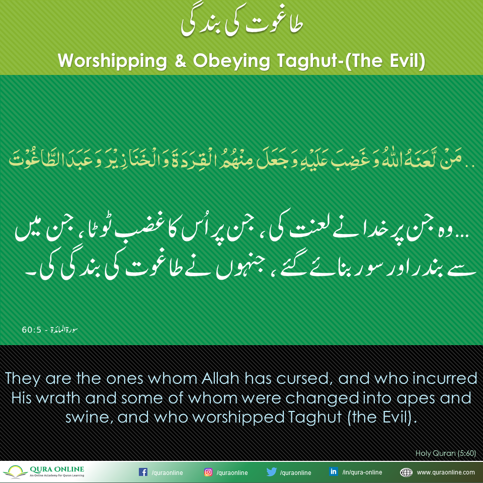 Worshipping & Obeying Taghut-(The Evil)